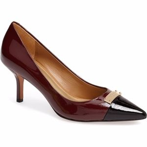 Coach Zan Two-Tone Patent Leather Pointed Toe Pump